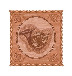 French horn and oak leaves and acorns woodcarving vector