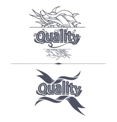 Quality label with ribbons vector