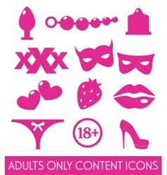 Set of sex shop icons vector