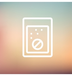 Tablet into a glass of water thin line icon vector