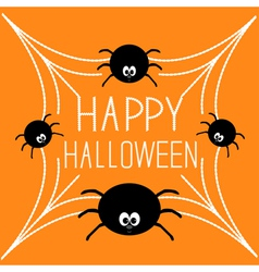 Four cartoon spider on the web halloween card vector