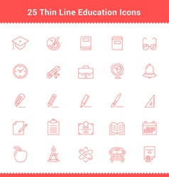 Set of thin line stroke education icons vector