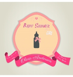 Baby shower invitation with baby milk bottle vector