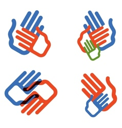 Hands logo design template people family vector