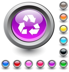 Recycling round button vector