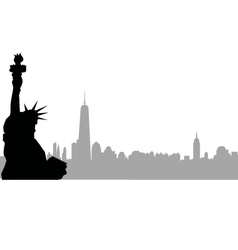 New york skyline and statue of liberty vector