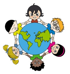 Children around the world united vector
