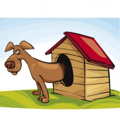 Dog in doghouse vector