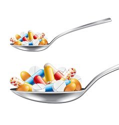Spoon with medicines isolated vector