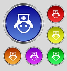 Nurse icon sign round symbol on bright colourful vector