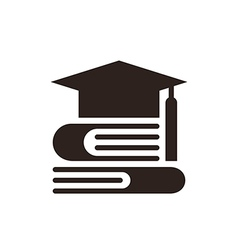 Graduation cap and books vector