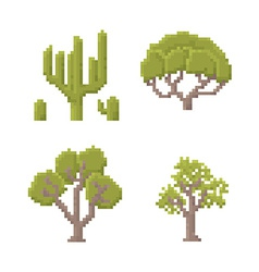 Pixel art trees vector
