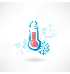 Cold thermometer grunge icon vector