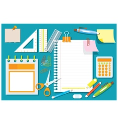 Office supplies and stationery flat design objects vector