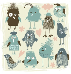 Set of crazy birds vector