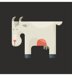 White goat with small horns standing sideways vector