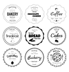 Set of 9 circle bakery labels vector