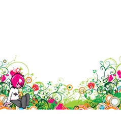 Popart floral background with emo kid vector