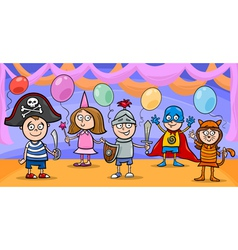 Children at fancy ball cartoon vector