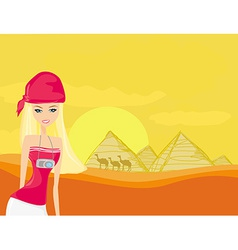Women on background the pyramids in giza built for vector