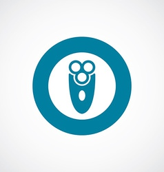Electric shaver icon bold blue circle border vector