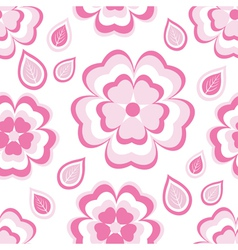 Seamless pattern with pink flowers sakura vector