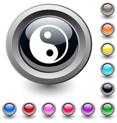Ying yang round button vector