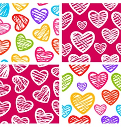 Set of four seamless patterns with sketchy hearts vector