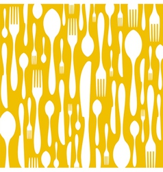 Cutlery pattern on yellow background vector