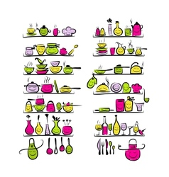 Kitchen utensils characters on shelves sketch vector