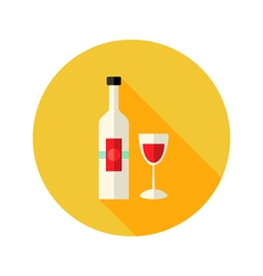 Christmas wine bottle with glass flat icon vector