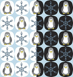 Seamless penguin snowflake pattern vector