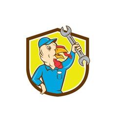 Turkey mechanic spanner shield cartoon vector
