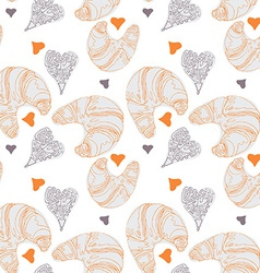 Seamless pattern with croissants vector