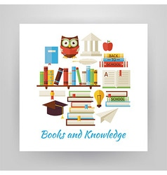 Flat style circle set of books education and vector