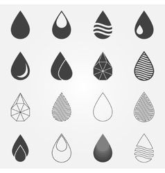 Water drops icons set vector