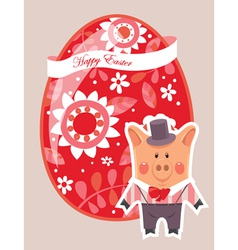 Easter egg background with pig vector