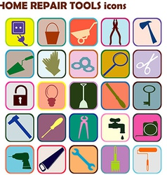 Set of colored icons with home repair tools vector