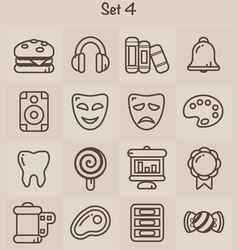 Outline icons set 4 vector