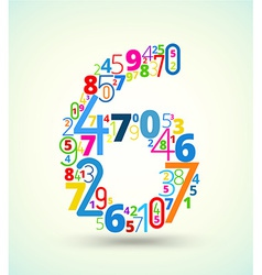 Number 6 colored font from numbers vector