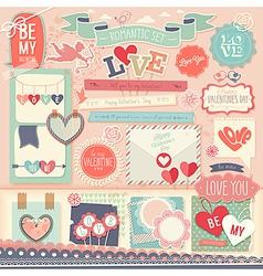 Valentines day scrapbook set vector