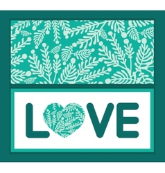 Emerald green plants love text frame vector