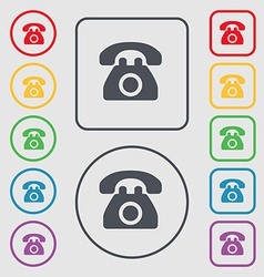 Retro telephone icon sign symbol on the round and vector