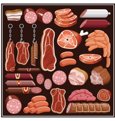 Set of meat products vector