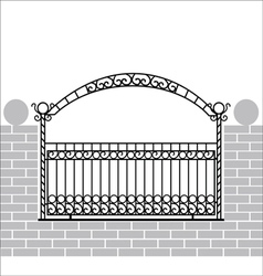 Iron fence with bow vector