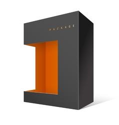 Modern realistic black package cardboard box vector
