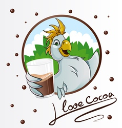 Parrot with cocoa vector