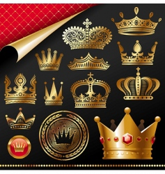 Golden royal crowns vector