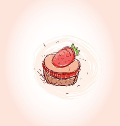 Cake with strawberries hand drawn sketch on pink vector