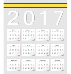 Spanish 2017 calendar with shadow angles vector